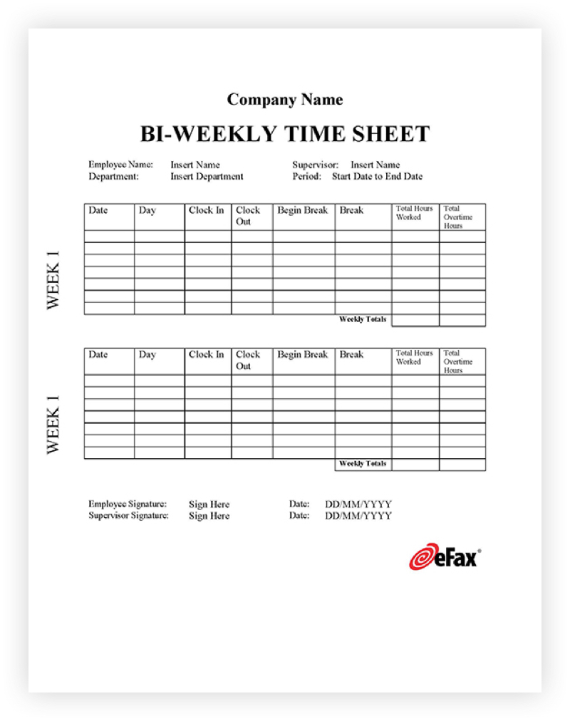 Timesheet Template Two